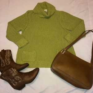 Chico's Cowl Neck Sweater W Front Pockets Green 3